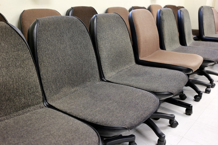 collocation: chair in the meeting room of row collocation. Stock Photo