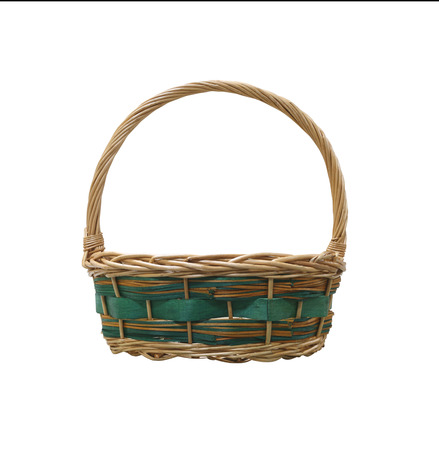 objects with clipping paths: Empty wicker basket isolated on white background and have clipping paths for design. Stock Photo