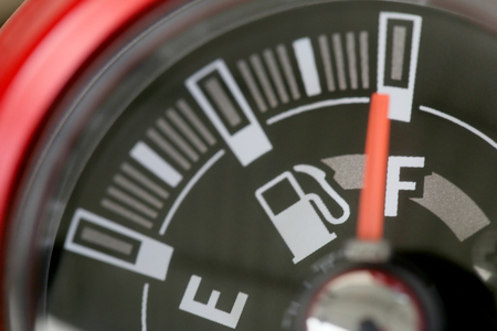 fuel gauge: Fuel gauge with warning indicating quantity fuel tank,Gas gauge indicating white icon for gas station. Stock Photo