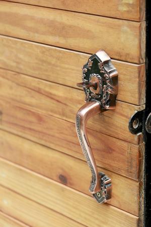 door handle: Focus on the handle vintage for wooden door open.