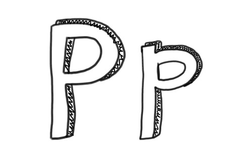 pp: New drawing Character P of alphabet logo icon in design elements.