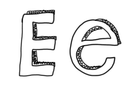 ee: New drawing Character E of alphabet logo icon in design elements.