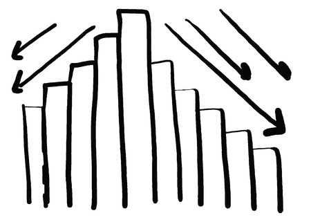 create idea: Business bar graph create in the hand drawn design and down arrow for performance measurement idea.
