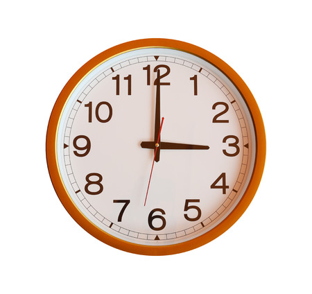 o'clock: orange wall clock isolated in three oclock on white background. Stock Photo