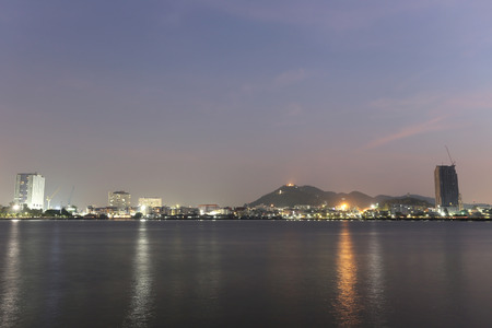 seaside town: Sriracha city in twilight picture style,atmosphere seaside town,Thailand. Stock Photo