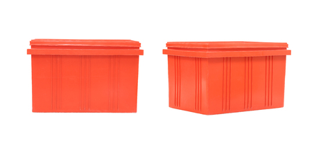 objects with clipping paths: Red Plastic box Packaging of finished goods on white background Stock Photo