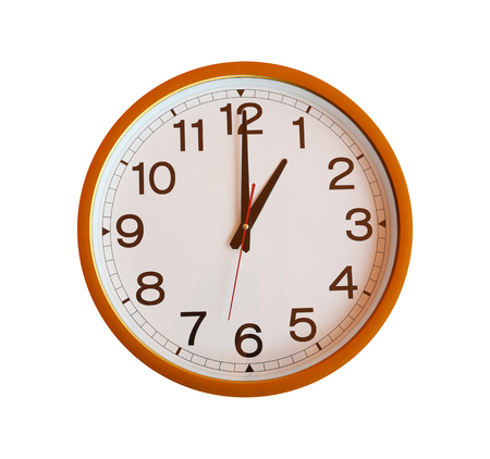 o'clock: orange wall clock isolated in one oclock on white background.
