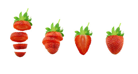objects with clipping paths: Collection of fresh strawberry isolated on white background and have clipping paths.