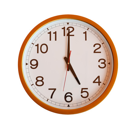 o'clock: orange wall clock isolated in five oclock on white background.