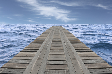 slight: Old wooden bridge in the sea and have slight wave on daytime. Stock Photo