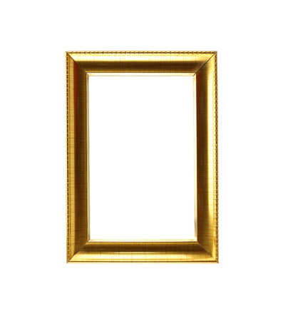 gold picture frame: Modern gold picture frame isolated on white background.