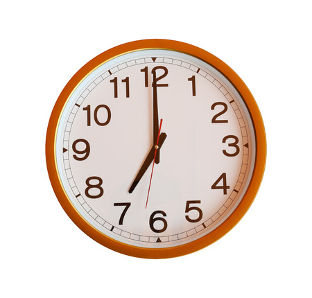 o'clock: orange wall clock isolated in seven oclock on white background.