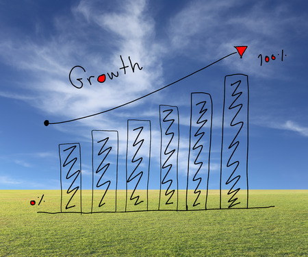 create idea: Business bar graph create in the hand drawn design and grow arrow for performance measurement idea on Natural background. Stock Photo
