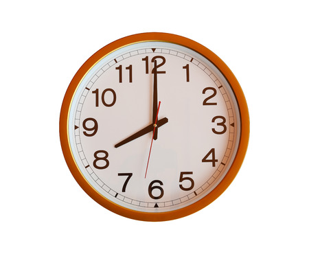 o'clock: orange wall clock isolated in eight oclock on white background.