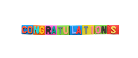 objects with clipping paths: The colorful font of congratulation on paper box isolated on white background and have clipping paths.