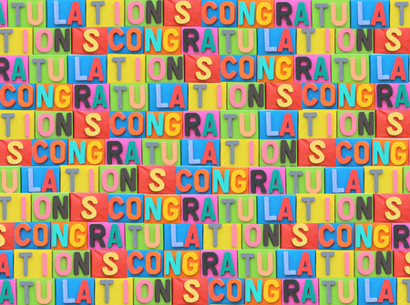objects with clipping paths: The colorful font of congratulation on paper box for art background. Stock Photo