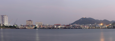 tourist destination: Panorama of Sriracha city in Twilight evening,Small town in eastern Thailand as a tourist destination.
