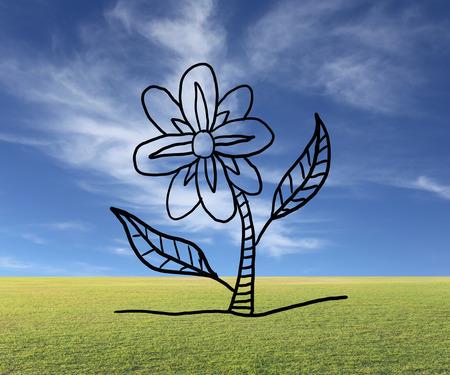 趣味やレジャーのため、自然の背景に花卉概念の花を手書き。