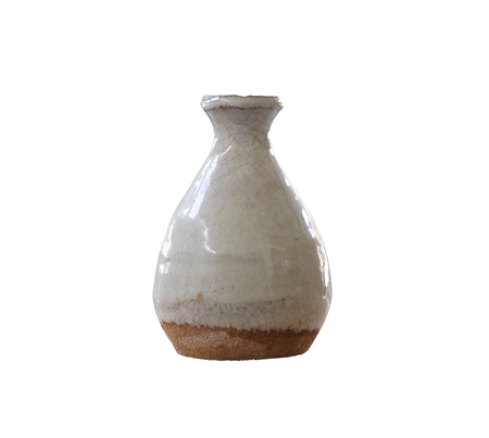 objects with clipping paths: old jar earthenware of japanese style (japanese sake bottle) isolated on white background and have clipping paths.