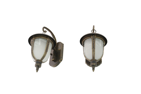 objects with clipping paths: Antique lamps of vintage style isolated on white background and have clipping paths. Stock Photo