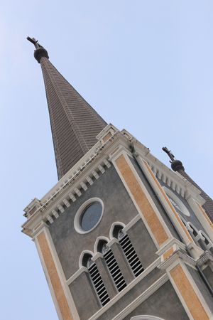weather gauge: roof architecture of the church on clear day,sanctuary in Thailand.