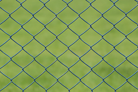 detain: wire mesh or steel cage of green lawn in the garden for design background.