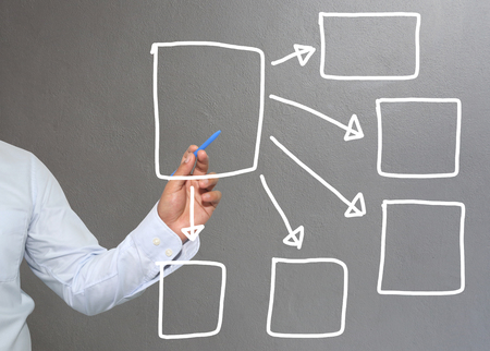point of demand: Hand of businessman drawing graphics a symbols geometric shapes graph to input information concept of investment profit in business or management system and have Gray wall of background.