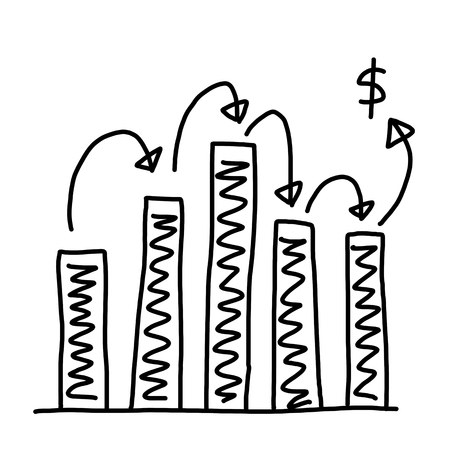 point of demand: Hand drawn a graphics graph to top point growing data to concept of profit in business on white background.