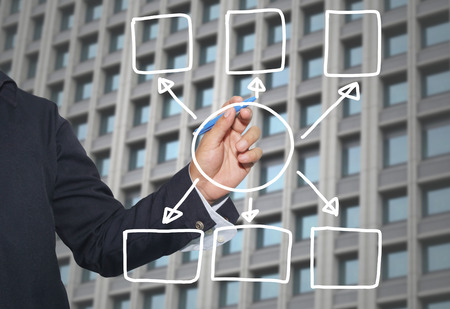 point of demand: Hand of businessman drawing graphics a symbols geometric shapes graph to input information concept of investment profit in business or management system and have skyscraper background.