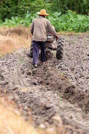 carretilla de mano: Los agricultores está trabajando carretilla de mano para reacondicionar el control del cultivo del suelo para el área de cultivo de arroz.