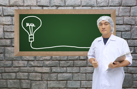 add text: A man in white great coat uniform and black board with space to add text for Concept design Business.