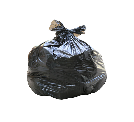 garbage bag: Garbage bag have waste inside isolated on white background