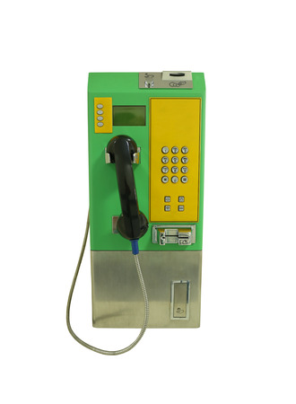 communications tools: Public telephone isolated on white background and have clipping paths.