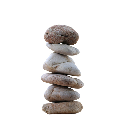 objects with clipping paths: balance rock or zen stones isolated on white background and have clipping paths. Stock Photo