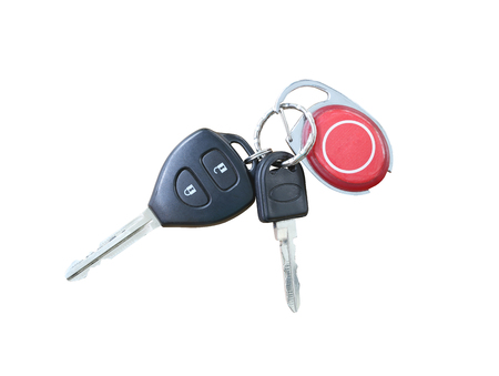 objects with clipping paths: Key chain Car isolated on white background and have clipping paths.