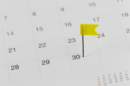 wildcats: Yellow Pins to Wildcats on the calendar beside the number end of the month in business concept.