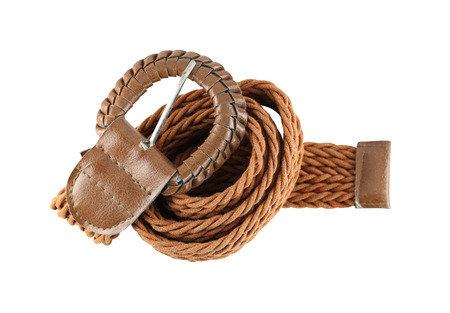 objects with clipping paths: Brown leather belt fashion isolated on white background and have clipping paths. Stock Photo