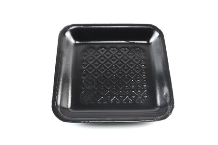 foam box: Black foam box container for food packaging isolated on white background and have clipping paths.