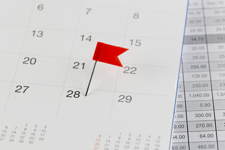 wildcats: Red Pins to Wildcats on the calendar beside the number of twenty eight in business concept time and date.