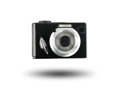 analogue: Old digital Camera Black isolated on white background and have clipping paths. Stock Photo