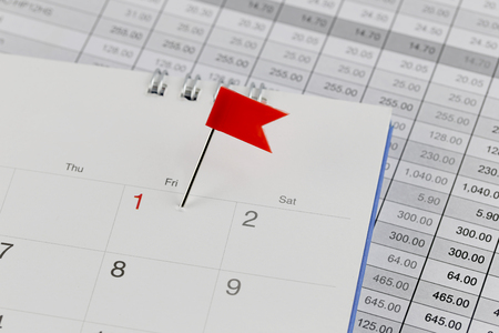 wildcats: Red Pins to Wildcats on the calendar beside the number red color of one in business concept time and date. Stock Photo