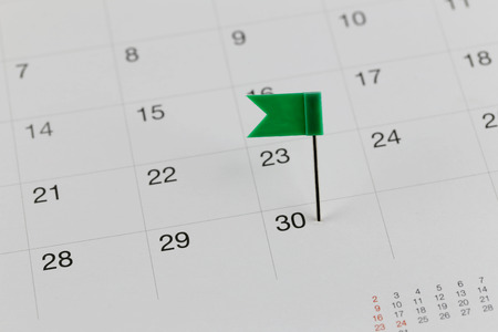 wildcats: Green Pins to Wildcats on the calendar beside the number end of the month in business concept.