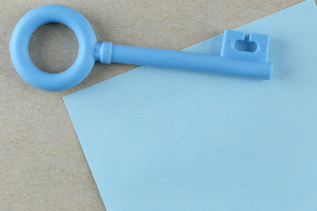 placed: Blue Plastic key is placed on Blue Paper Note and can input text to it.