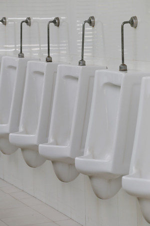 chamber pot: Modern urinal in men bathroom, white ceramic urinals for men in toilet room. Stock Photo