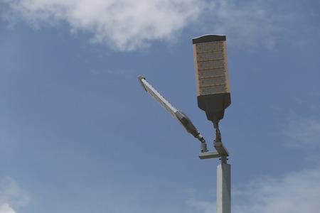 led lighting: Pole of LED Lighting outdoor on sky background. Stock Photo