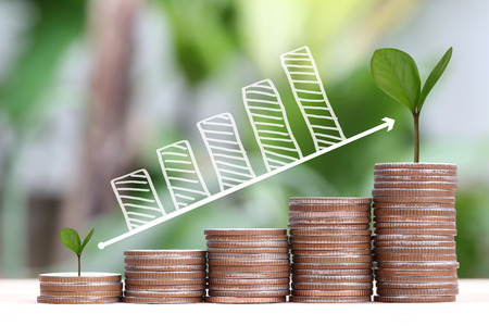 young plant: young plant grown to stack silver coin in business growth concept and have Business graph points to top.