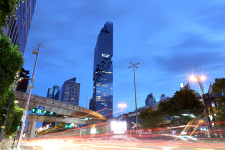 silom: BANGKOK - September 03 :View Silom road in twilight of Mahanakhon building,This is the new highest of building in Bangkok,September 03,2016 at Thailand. Editorial