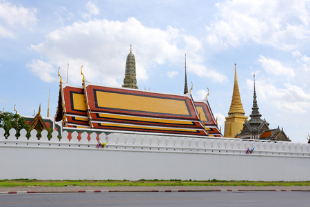 kaew: Thailand on street and background of Wat Phra Kaew ( Temple of the Emerald Buddha),The destinations of landmarks traveler and many tourists.