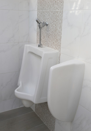 Modern Urinal In Men Bathroom, White Ceramic Urinals For Men In Toilet  Room. Photo