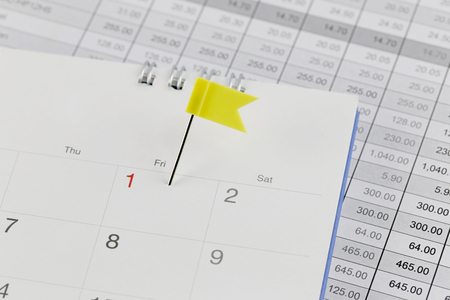 wildcats: Yellow Pins to Wildcats on the calendar beside the number red color of one in business concept time and date. Stock Photo